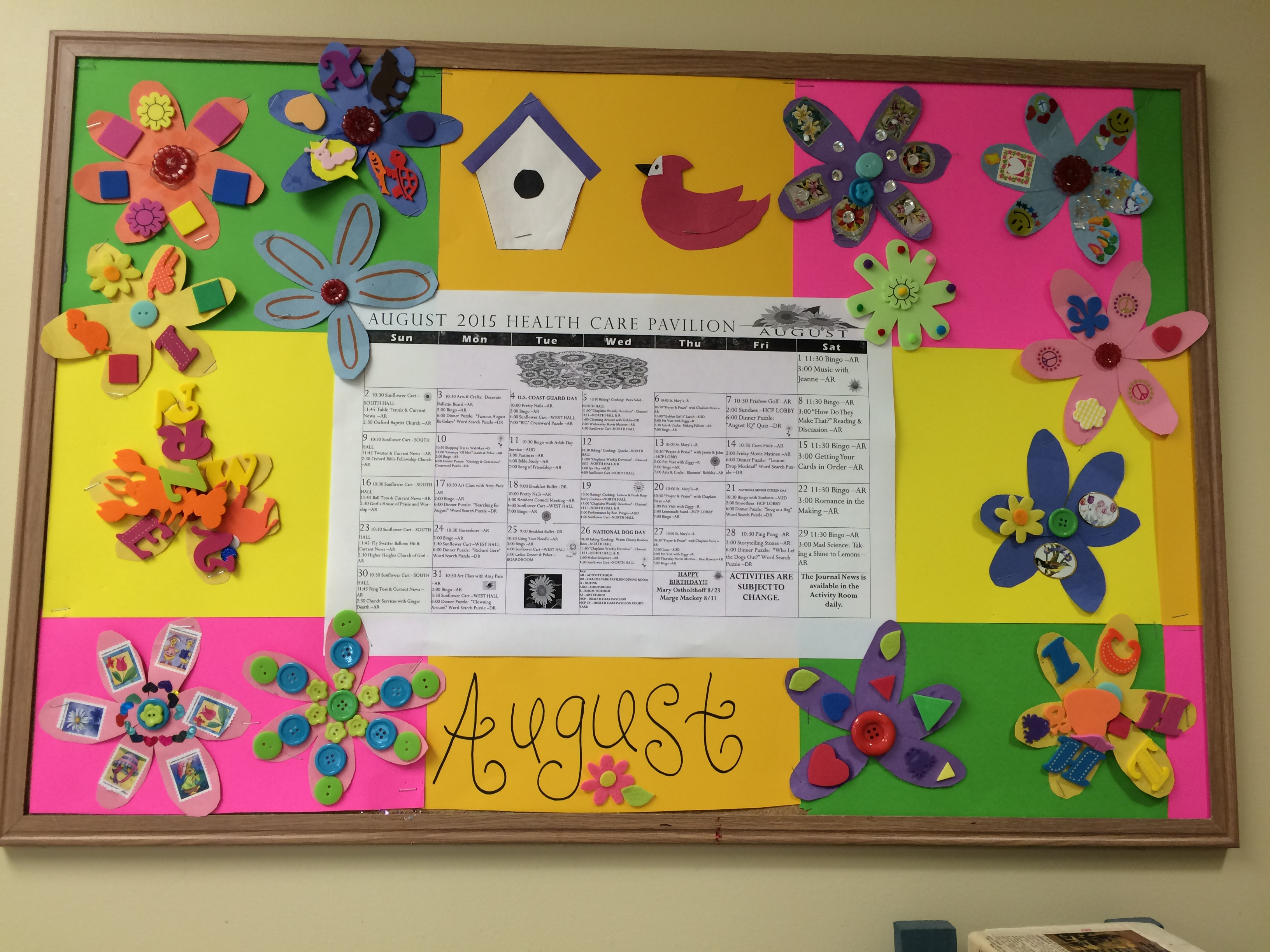 August Bulletin Board The Knolls Of Oxford Activity Blog